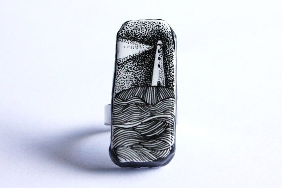 Lighthouse ring black and white polymer clay handmade jewelry - made to order