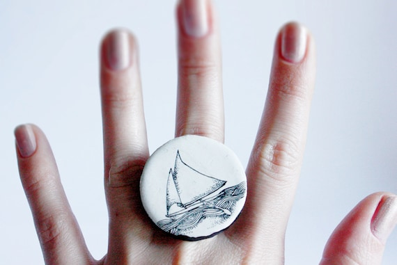 coctail ring, black and white ship - reserved listing for Claudia Horn