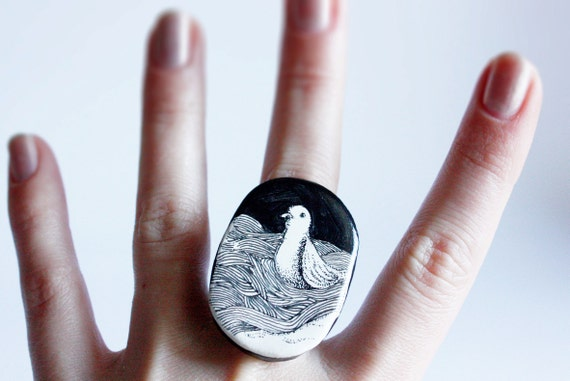 black and white seagull ring illustrated jewelry polymer clay