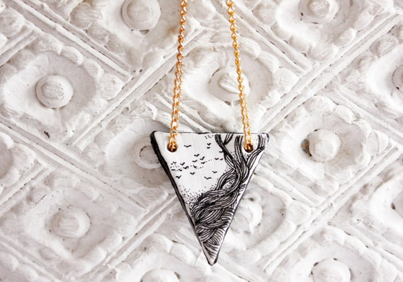 Triangle necklace - geometric jewelry - illustrated art