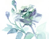 Delft Blue Rose Original Watercolor Painting, garden flower, retro, cottage chic gift