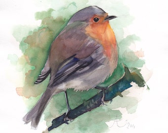 Red Robin giclee print, Bird watercolor painting, Limited Edition Fine Art Print of my original watercolor