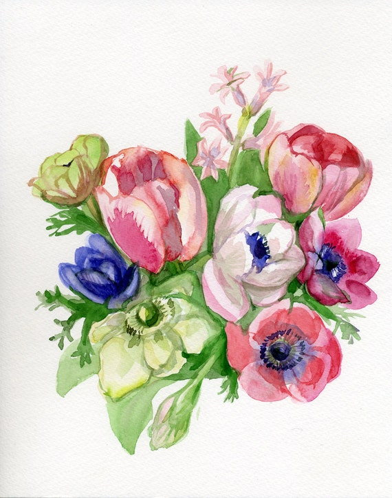 Spring Flowers Painting, pink, green, purple, red original watercolor, Mother's day, Tulip, Hyacinth, Anemone