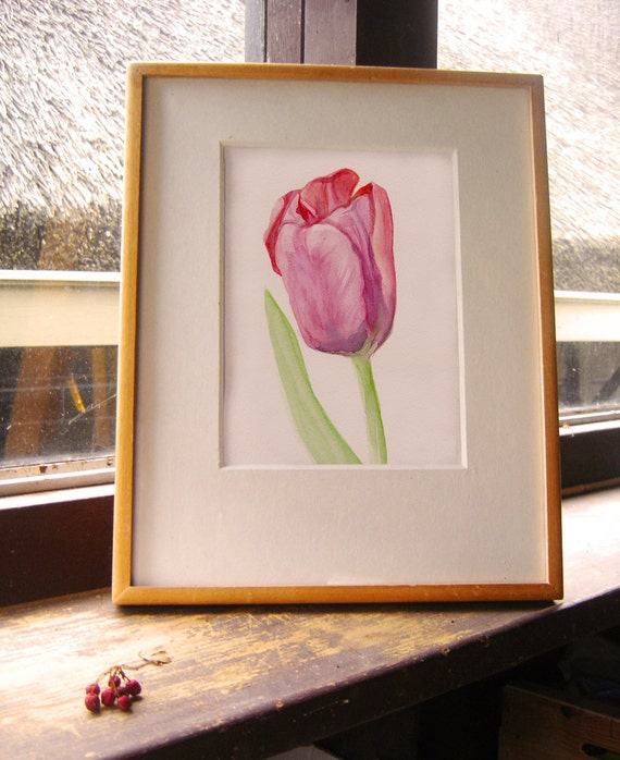 Tulip watercolor original, Mother's day gift, flower painting