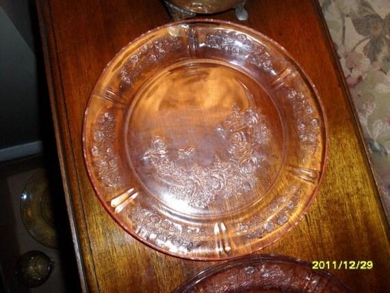 Set of 4 Pink Rose Plates