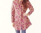 Red and Tan Paisley Jacket- Vintage Nehru Collar Coat- Size 4