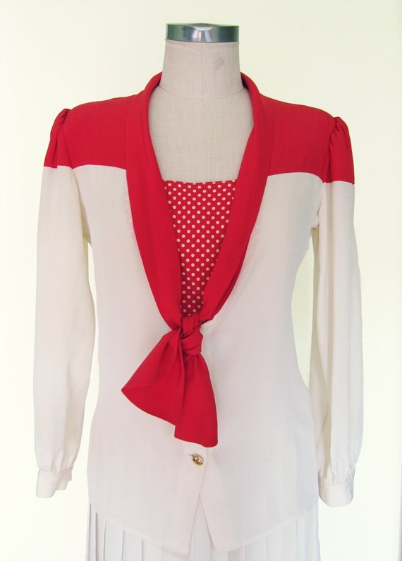 Valentino 1980s Red and White Color Block Blouse and Pleated Skirt- Size 6