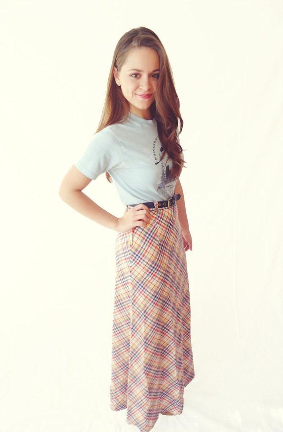 Vintage Plaid Maxi Skirt with Belt- Size 2