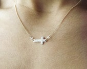 Dainty Hammered Gold Filled or Sterling Cross Necklace - Mix Metal Necklace - Sideways Cross Necklace - Religious Jewelry