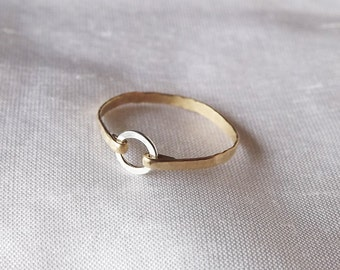 Hammered Sterling and Gold Filled Ring - Mix Metal Ring - Gold Band - Stacking Rings - Hammered Rings