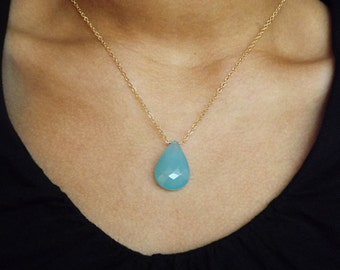 Large Chalcedony Gemstone Gold Filled or Sterling Necklace - Chalcedony Sterling or Gold Necklace