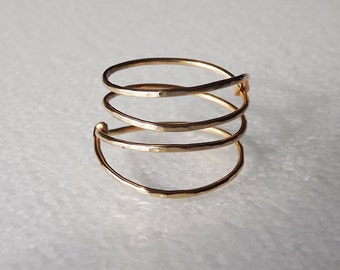 Hammered Gold Filled Spring Ring - Gold Ring - Wrap Ring - Stacking Rings