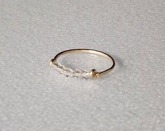 Hammered Gold Filled Swarovski Champagne Crystal Gemstack Ring - Gold Ring - Stacking Rings - Crystal Ring - Gold Band