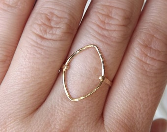 Hammered Marquise Gold Filled Ring - Gold Ring - Gold Band - Marquise Ring