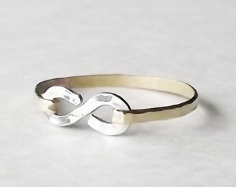 Stacking Rings - MIX Metal - Hammered Gold Filled or Sterling Infinity Band - Gold Ring - Stackable Ring - Hammered Ring