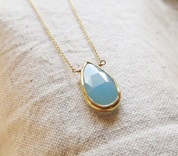 Bezel Set Aqua Chalcedony Gemstone Gold Necklace - Bezel Set Necklace