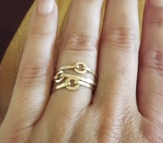Three Hammered Gold Filled Mini Circle Rings - Gold Rings - Stacking Rings