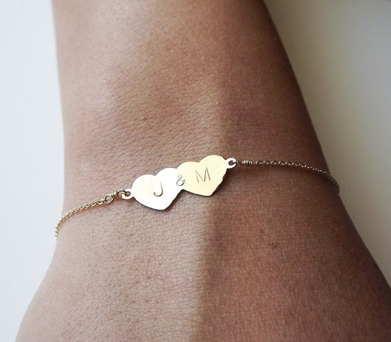 Hammered Gold Filled or Sterling Double Heart Bracelet - Gold or Sterling Wedding Bracelet - Personalized Bracelet - Sweetheart Bracelet