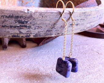 Purple Square Stone Drop Earrings