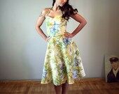 floral hawaiian full skirt handmade dress