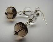Brown Earrings, Smoky Quartz Sterling Earrings, Dangle Earrings,Rustic Earrings, Boho Earrings Silver Earrings Simple Earrings
