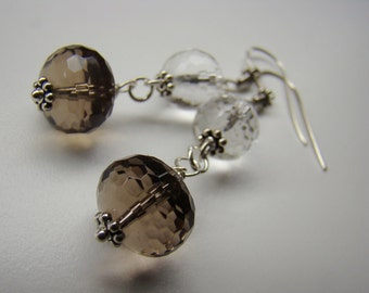 Brown Earrings, Smoky Quartz Sterling Earrings, Dangle Earrings,Rustic Earrings, Boho Earrings Silver Earrings Simple Earrings