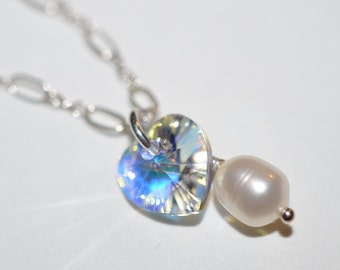 Swarovski Crystal Heart Freshwater Pearl  Cluster Necklace on Sterling Silver Chain - 18 inches