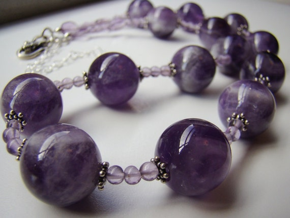 Amethyst necklace, Purple Gemstone Necklace, Amethyst & Sterling Silver Beaded Necklace, Statement Necklace,  18 - 22 inches