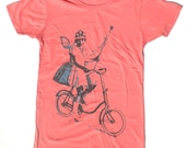 Womans Bicycle TShirt, Fairy Princess, in Coral Pink L