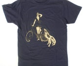 1920s Flapper and Her Dog Bicycle T-Shirt in men's navy XL