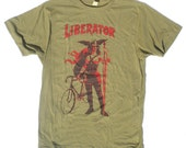 Fixed Gear Bike TShirt in Mens Army Green L, by The Cyclery