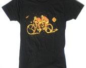 Womans Tandem Bike Tee Shirt in Black S
