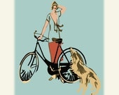 Bicycle Print, Flapper Girl and Her Dog, fine art archival Giclee