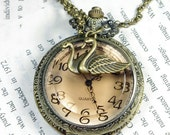 Light Brown Irish Diamond Lid, Round Necklace Watch locket with lover swan