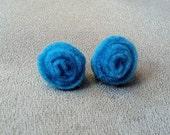 Teal Felt Rosebud Earrings