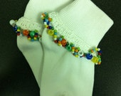 Fancy Socks - Crochet and Bead Trimmed