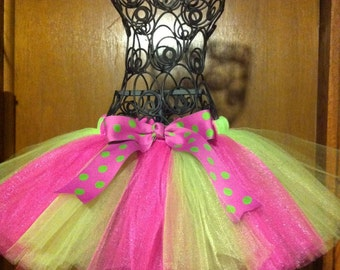 Fluffy Hot Pink Lavender Lime Green tulle tutu skirt with Polka Dot Bow