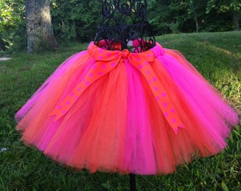 Handmade Pink and Orange Tutu Tulle Skirt with Matching Polka Dot Bow Attached at Waist