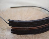 50 Percent SALE//Black and Brown Upcycled Leather Headband