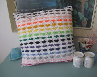 Double-sided rainbow striped heart motif handmade crochet cushion cover