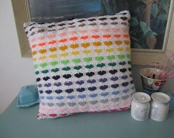 Double-sided rainbow striped heart motif handmade crochet cushion cover