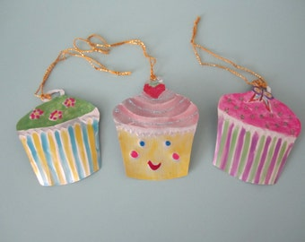 SET OF 3 tin cupcake charm ornament decoration party favour handmade recycled alternative greetings card