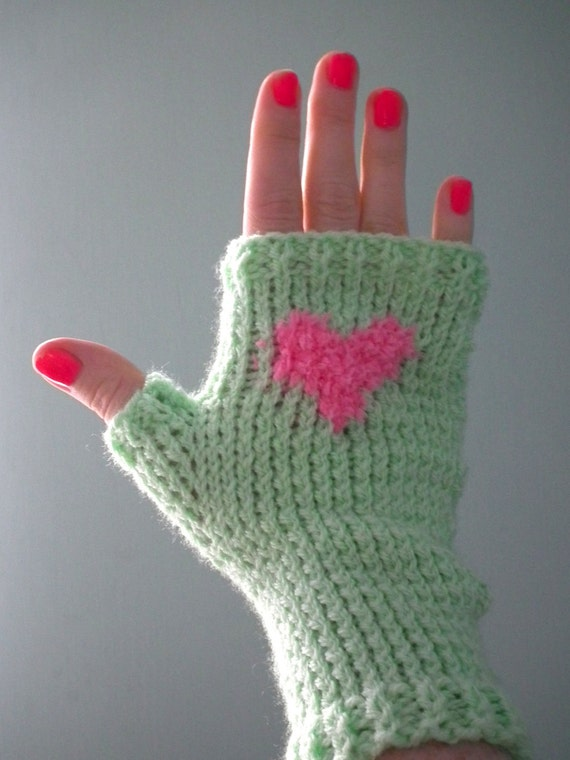 Spring green and pink heart design fingerless gloves size SMALL.