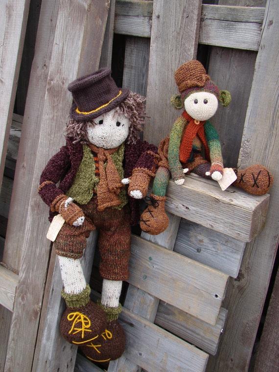 Pip- 28 inch,  Hugo 17inches OOAK Art doll, Hand knit, rag  doll, soft fabric toy, doll, waldorf, soft.plush toy