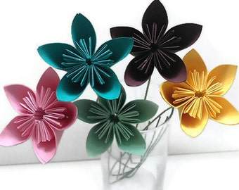 Kusudama Paper Origami Flower set of 5 with Stems