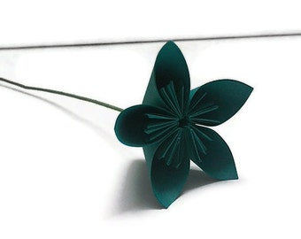 Green Turquoise Color Kusudama Origami Paper Flower with Stem