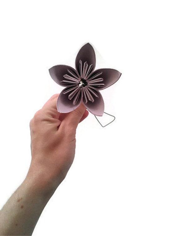 Pastel Lilac Color Kusudama Origami Paper Flower with Stem
