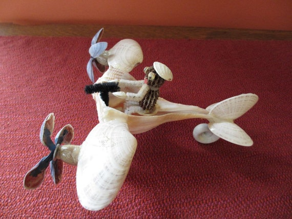 Vintage Sea Shell Art Airplane with Fighter Pilot Funky and Kitsch 1970s