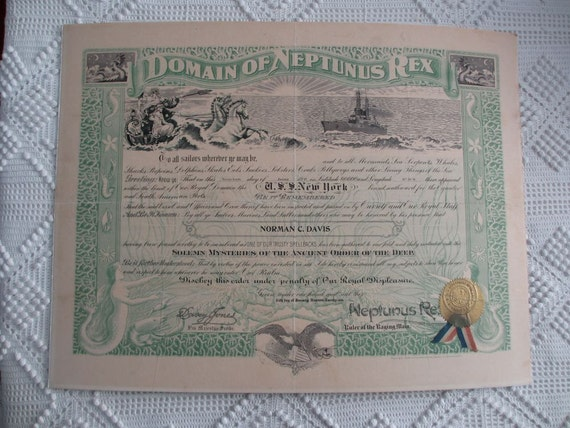 1921 Domain of Neptunus Rex Equator Passing Membership Certificate U.S.S. New York Sailor Pollywog to Shellback