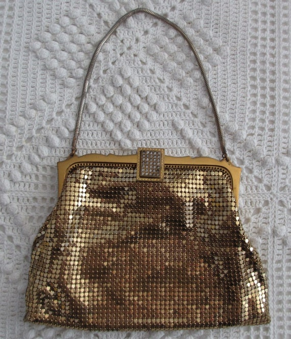 Retro Chic Whiting & Davis Gold Mesh Evening Bag with Rhinestone Clasp and label 1930s to 1940s
